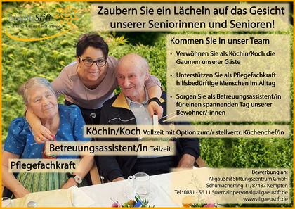 Stellenanzeige Facebook Betreuungsassistent Koch Pflegefachkraft 01